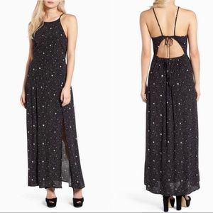 LEITH Black Celestial Cutout Back Maxi Dress S